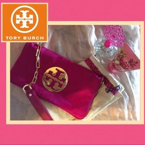 Tory Burch Reva satin/leather clutch w/gold chain